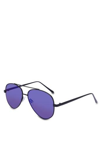 Topman black Blue Aviator Sunglasses 8E658GL2A456BEGS_1