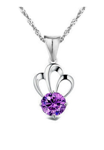 YOUNIQ silver YOUNIQ Her Highness 925 Sterling Silver Necklace Pendant with Purple Cubic Zirconia YO999AC82DAVMY_1