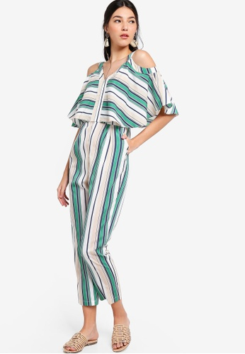 ZALORA green and multi Cold Shoulder Jumpsuit 4742AAA1FEB49BGS_1