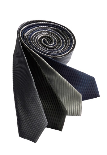 Well Suited black and grey and blue and silver Solid Stripe Slim Necktie Combo C 0ACC6ACEE37E6EGS_1