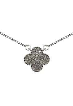 S925 Fine Silver Flower Pattern Silver Rolo Chain