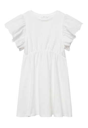 MANGO KIDS white Ruffled Sleeve Dress 97AECKA0EE3DDFGS_1