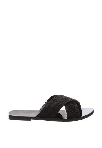 Anacapri black Cross Flat Sandals 22CDBSHAAB60A3GS_1
