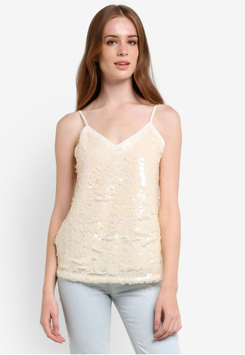 Dorothy Perkins beige Nude Sequin Cami DO816AA0REVSMY_1