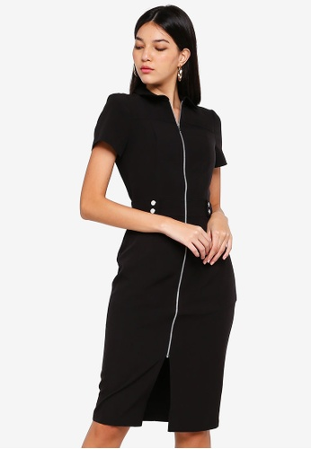 401205b20c Buy Dorothy Perkins Black Zip Front Pencil Dress Online on ZALORA ...