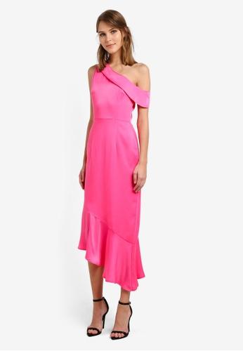 Lavish Alice pink Satin One Shoulder Asymmetric Hem Dress LA457AA0SAN8MY_1