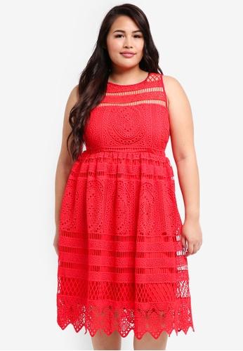 LOST INK PLUS red Plus Size Premium Dress In Cornelli Lace 72DCAAAEAA5E7FGS_1