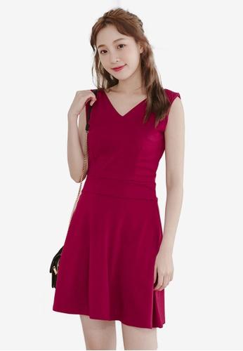 Eyescream red Back Button Flare Dress 76AAEAA1D9A6B0GS_1