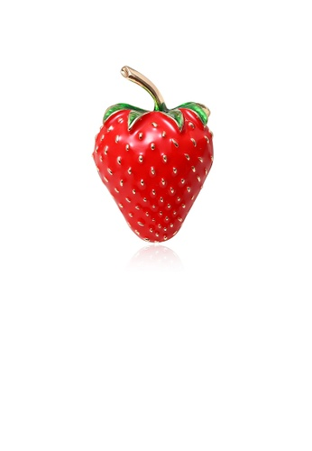 Glamorousky silver Simple and Cute Plated Gold Strawberry Brooch EB6BFACEE0C5BEGS_1
