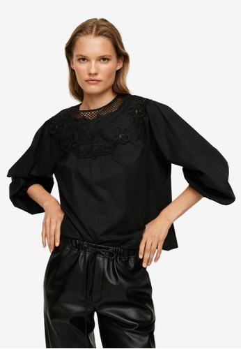 Mango black Cotton Embroidered Blouse 9F559AAC768AF5GS_1