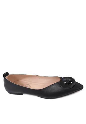 Twenty Eight Shoes 黑色 獨特的圓形裝飾扣平底鞋 VL902117 9609FSHD5BFF1AGS_1