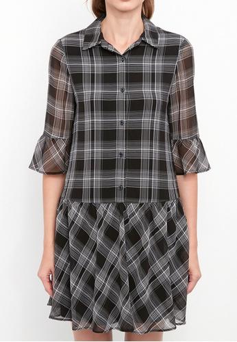 Dkny black DKNY Women Crinkle Plaid Shirt Dress A418BAAB859FCEGS_1