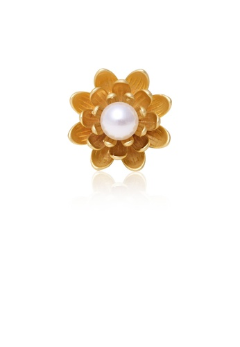 Glamorousky white Fashion Simple Plated Gold Flower Imitation Pearl Brooch 78565AC93BF117GS_1