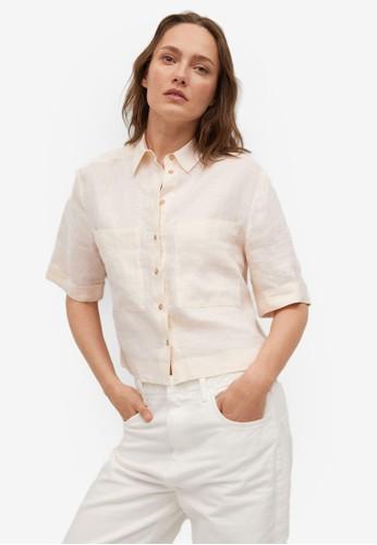Mango beige 100% Crop Linen Shirt DC95BAAF4F0339GS_1