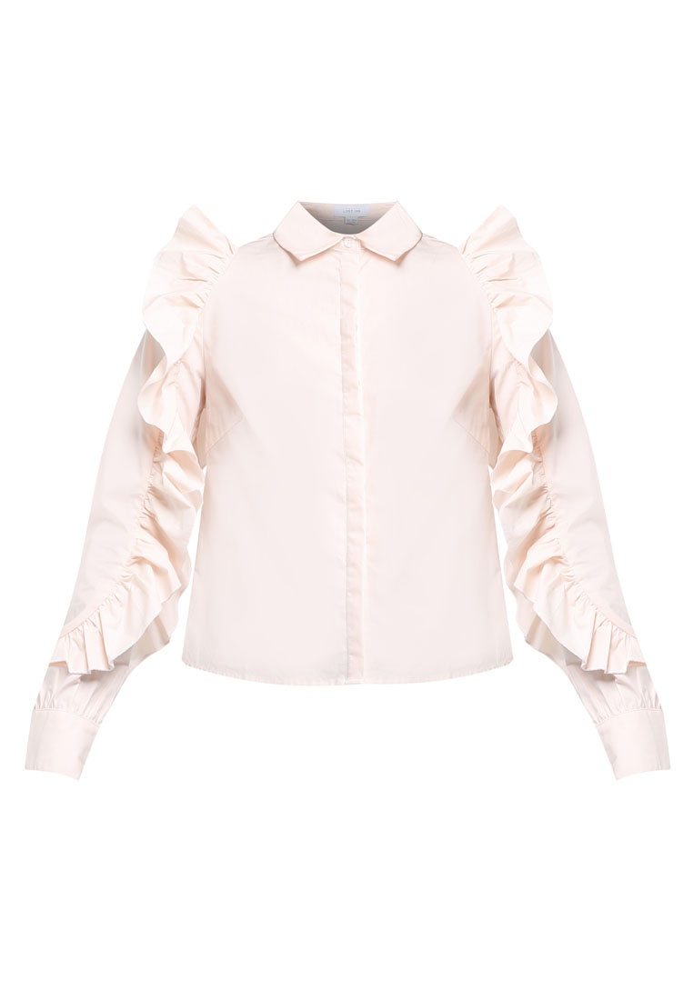 INK LOST Frill Pink Shirt Sleeve 1HHxrwg