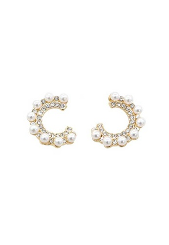 Atrireal gold ATRIREAL - Dawn Gold Half Circle Pearl Studs B6942ACEC94F3BGS_1