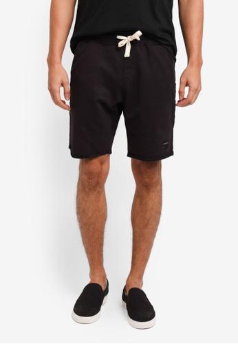 Penshoppe black Raw Finished Sweat Shorts 84A44AAF898DB8GS_1