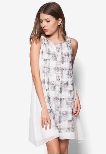 印花zalora taiwan 時尚購物網寬擺連身裙, 服飾, 洋裝