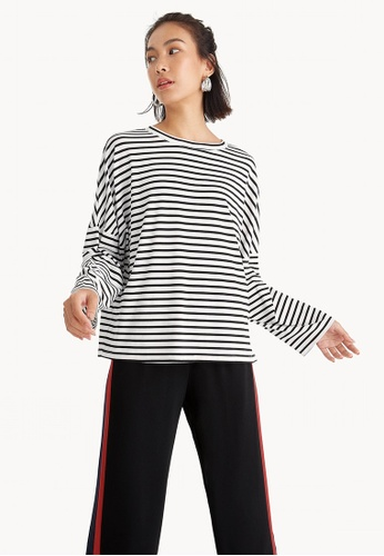 Pomelo black Two Way Striped Tee - Black A33ACAAE51E089GS_1