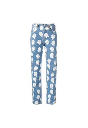 Kenzo blue Kenzo High-waisted Floral Jeans in Blue,White 135FEAA30F3568GS_1