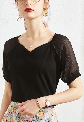 HAPPY FRIDAYS black Romantic Patch Sleeve Sweetheart Collar Top JW GW-J135 12822AA240FCE0GS_1