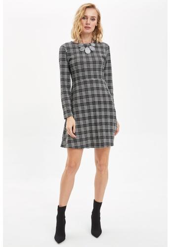 DeFacto black Long Sleeve Mini Dress 48B5DAA21F76F1GS_1