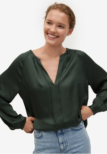 Mango green Pleated Front Satin Blouse EDF37AAC277AD4GS_1