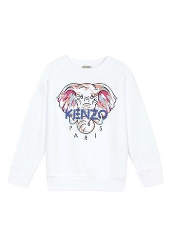 KENZO KIDS white and red and blue KENZO GIRLS SWEATSHIRT FCE45KAF26E958GS_1
