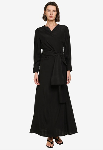 ZALIA BASICS black V-Neck Wrapped Dress 9A5FBAA5C36848GS_1