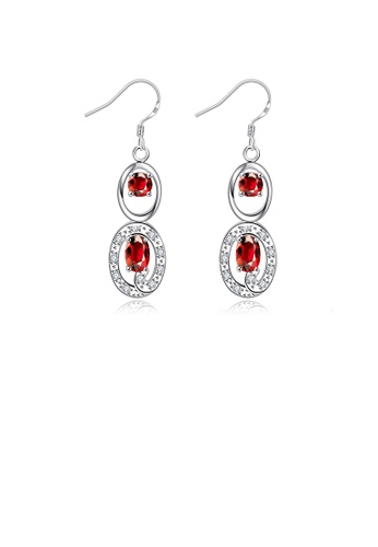Glamorousky red Simple and Elegant Geometric Oval Earrings with Red Austrian Element Crystal 98DC8ACFD1E20EGS_1