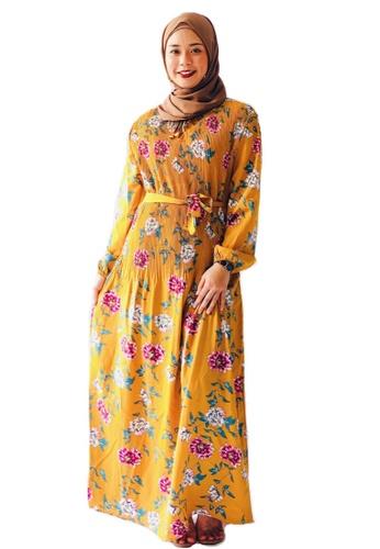 HUMBLENOTESSG yellow Asiqa Pleated Dress in Mustard EE557AAC4C544BGS_1