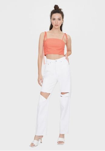 Pomelo orange Polka Dot Tie Shoulder Crop Top - Orange 92D97AA284C18DGS_1