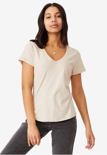 Cotton On brown The One Fitted V Tee 207CDAA9ADB27CGS_1