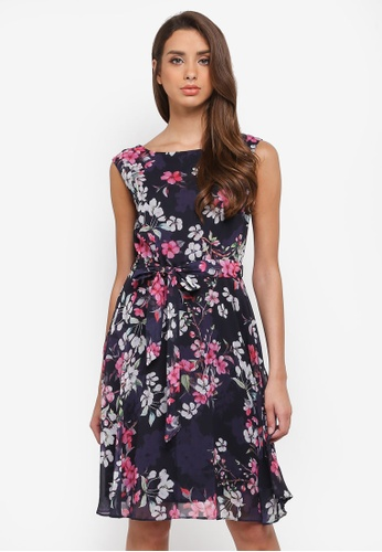 Wallis navy Blossom Floral Fit And Flare Dress A7F90AA9F39F2FGS_1