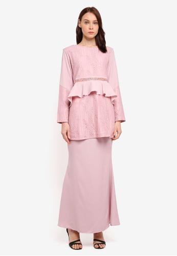 peace collections pink Peplum Style Kurung 88517AA64D4B8EGS_1