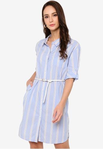 Hopeshow blue Striped Button Mini Shirt Dress with Belt E0D0DAA4C669FAGS_1
