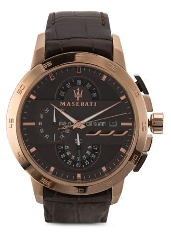 Maserati brown Maserati Ingegno Men's Chronograph Leather Strap Watch R8871619001 MA410AC59UWIMY_1