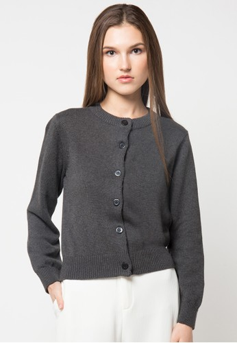 Noir Sur Blanc grey Ladies Cardigan W/Button NO321AA80ZNJID_1