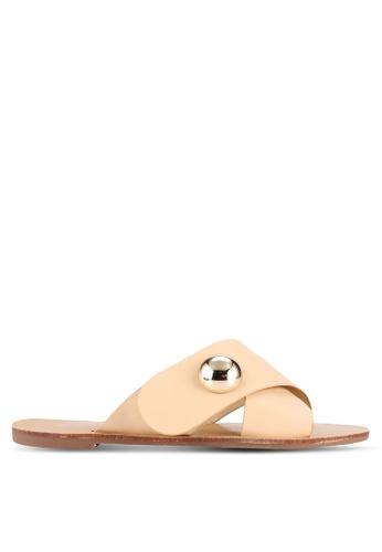 Something Borrowed beige Cross Over Slide Sandals 75BA2SH47C0FCFGS_1
