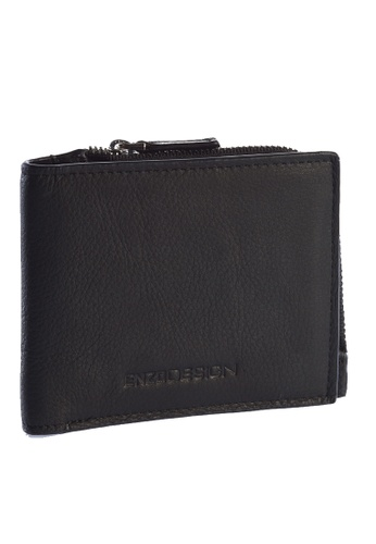 ENZODESIGN black and blue New Design Soft Cow Leather Wallet with Zip coin compartment EN115AC81ZTEPH_1