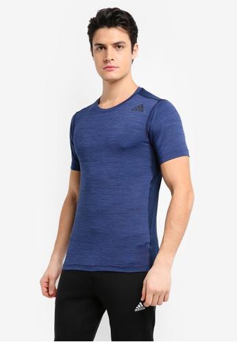 adidas 紫色 緊身運動短袖T恤 AD372AA0SUE3MY_1