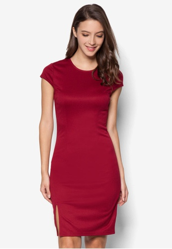 ZALORA red Basics Front Slit Bodycon Dress AQLUAAA0000027GS_1