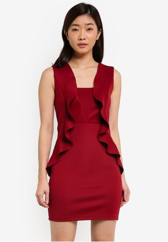 ZALORA red Waterfall Front Bodycon Dress D8E50AA418A6A8GS_1