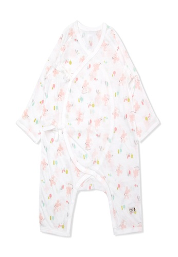 Organic mom pink Organic Cotton Joyce Mouse New Born Swaddle Gown 90A14KAAC17A58GS_1