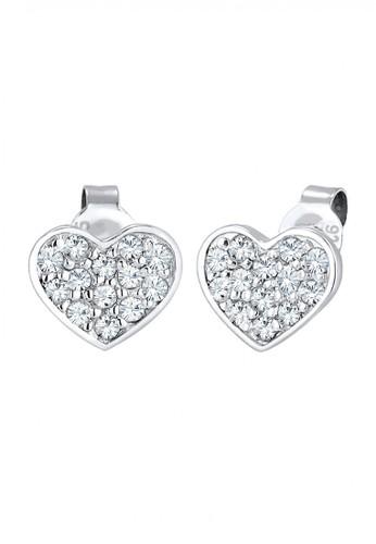 Elli Germany silver Perhiasan Wanita Perak Asli - Silver Anting Heart Simbol Crystal EL948AC37SASID_1