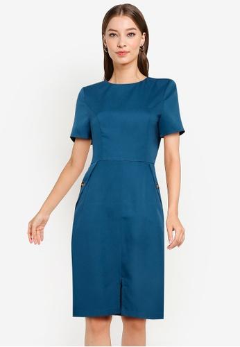 ZALORA WORK green Short Sleeve Sheath Dress 4604AAA36E082FGS_1