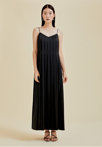 Love, Bonito black Talia Pleated Maxi Camisole Dress 990B7AAC5330DFGS_1