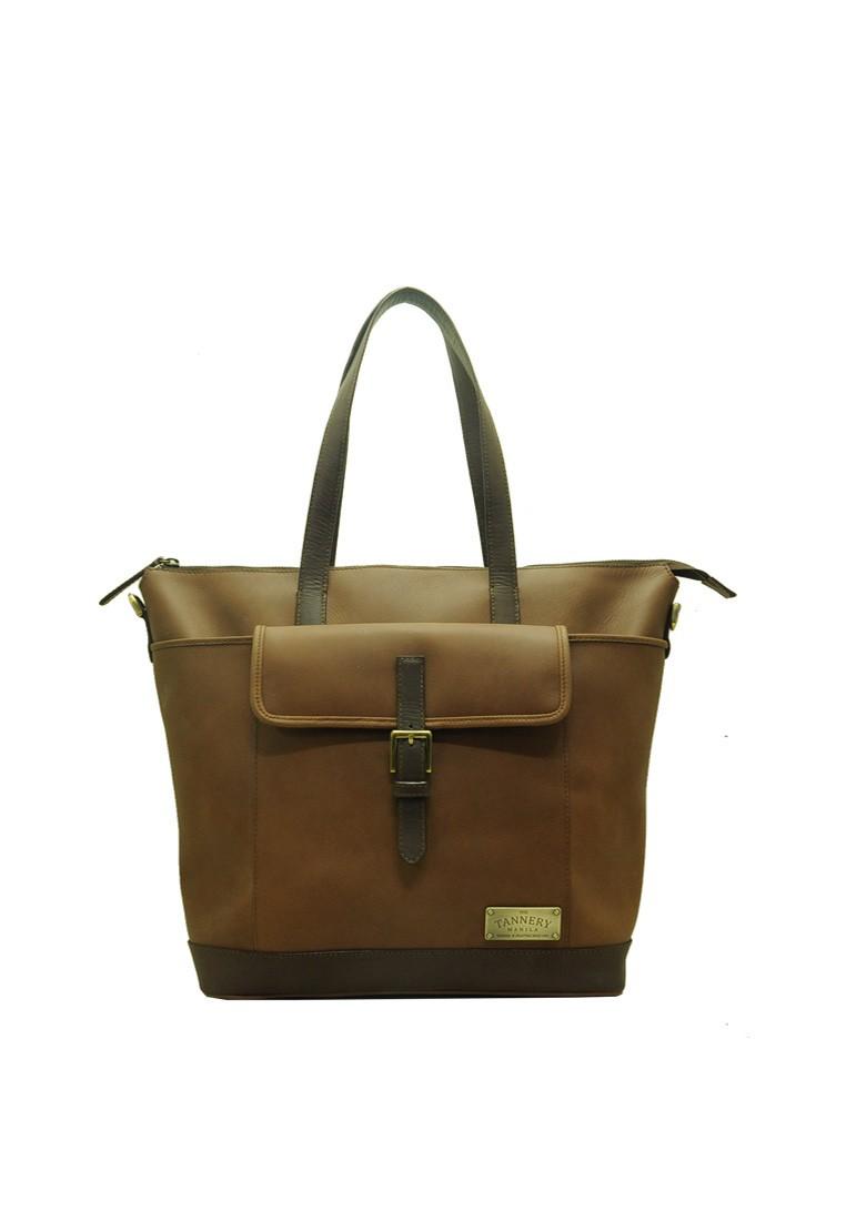 Tony, Genuine Leather Teak Tote Bag
