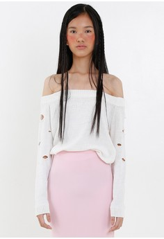 [PRE-ORDER] Ripped Off Shoulder Knitted Top