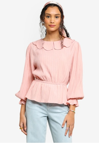 Lubna pink Scallop Collar Top 759C6AA3BAB149GS_1
